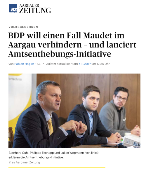 Amtsenthebungsinitiative in der Aargauer Zeitung