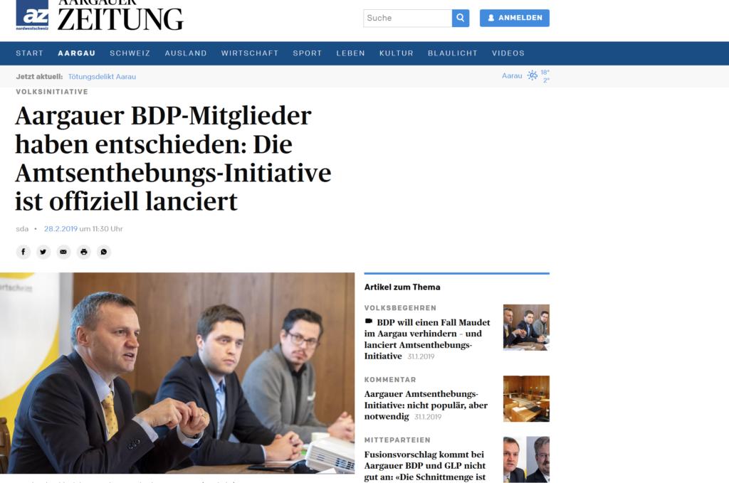 Amtsenthebungsinitiative der BDP Kanton Aargau