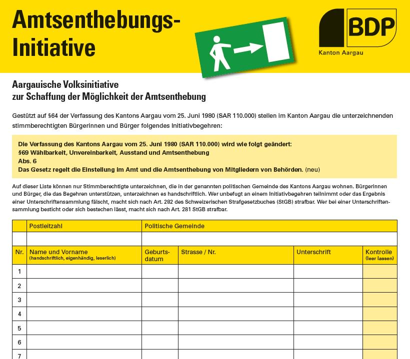 Amtsenthebungsinitiative Initiativbogen