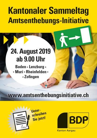 Plakat für den kantonalen Sammeltag der Amtsenthebungsinitiative